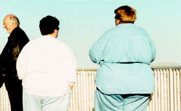 Two fat ladies blocking the view